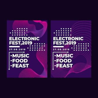 Modern square web banner electronic festival for social media mobile app