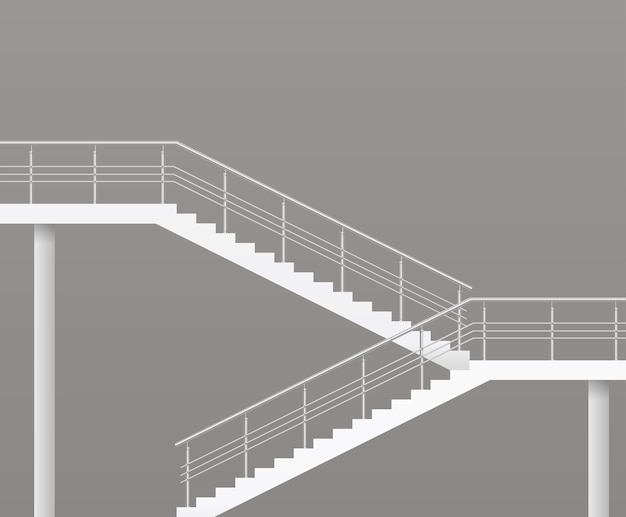 Modern staircase with metal railings