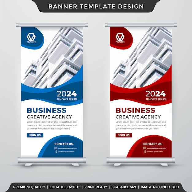 Modern stand banner layout template premium style