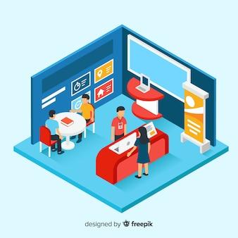 Esposizione di stand moderna nel design isometrico