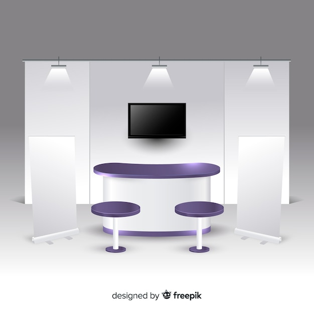 Exhibition Stand Free Mockup : Advertising exhibition stands mockup d composition for a