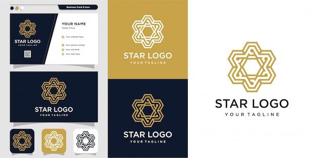 モダンな星のロゴと名刺のデザインテンプレート
