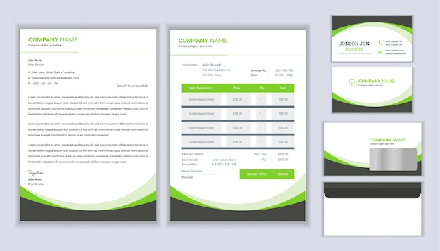 Modern stationery business corporate identity  with letterhead template invoice and business card