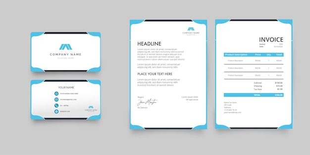 Modern stationery collection with blue business card, letterhead and invoice