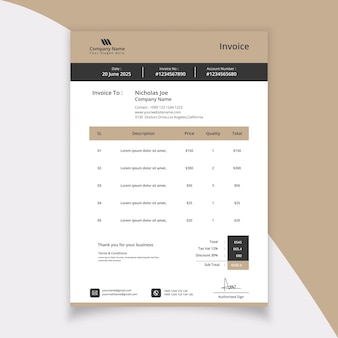 Modern stationery invoice template design for business