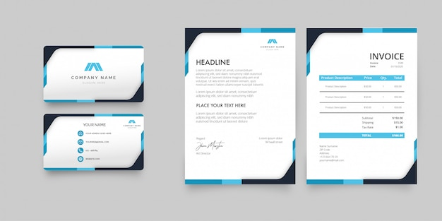 Modern stationery pack with blue shapes template