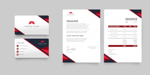 Modern stationery pack with business card, letterhead and invoice template