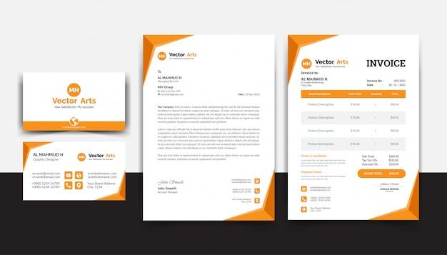 Современный пакет канцелярских товаров с шаблоном счета-фактуры на бланке визитной карточки