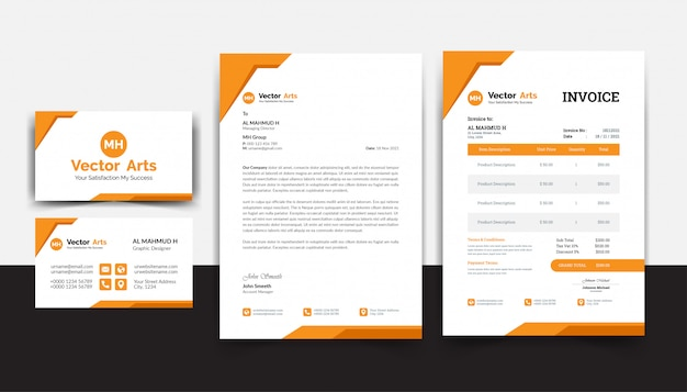 Modern stationery pack with business card letterhead invoice template