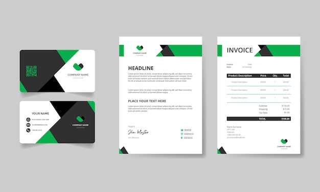 Modern stationery pack with green and black shapes template