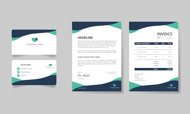 Modern stationery pack with light green and black shapes template