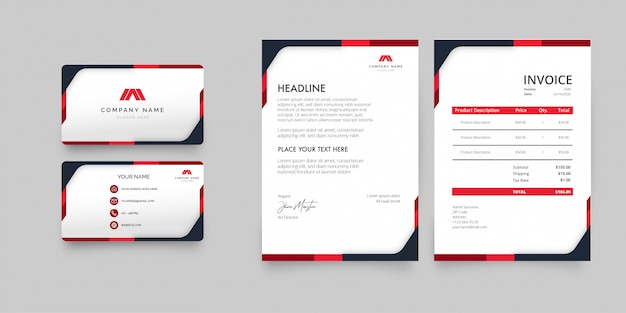 Modern stationery pack with red shapes template