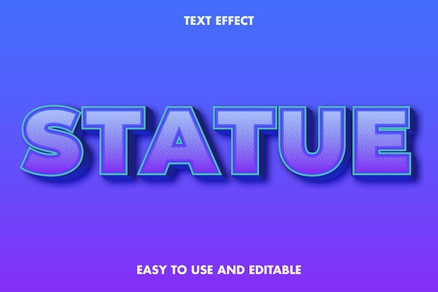 Текстовый эффект современной статуи. редактируемый и простой в использовании. эффект типографики