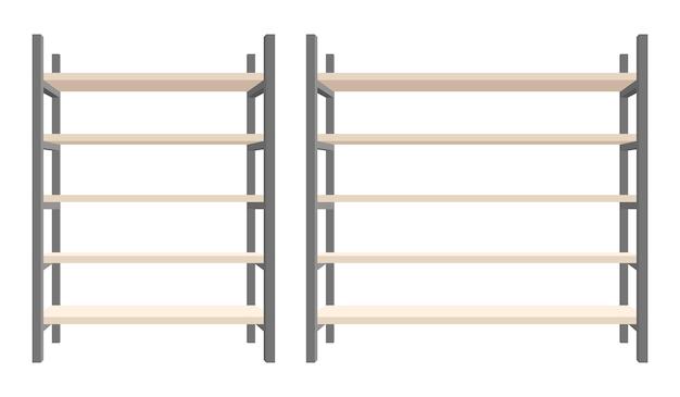 モダンなスチールと木製の本棚のイラスト