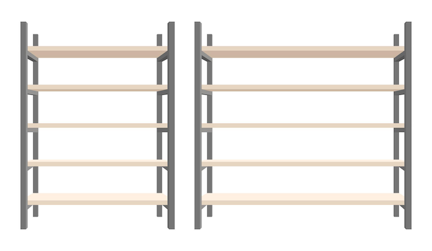 Modern steel and wooden bookcase  illustration