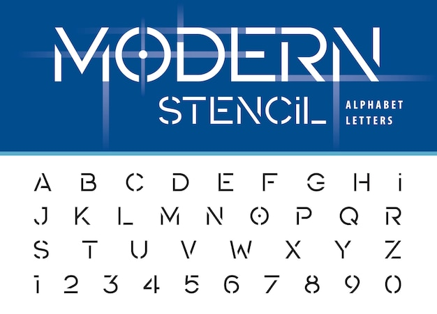 Modern stencil alphabet letters and numbers