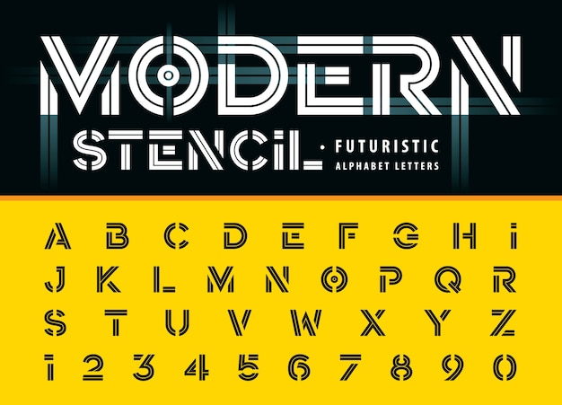 Modern stencil, inline alphabet letters and numbers