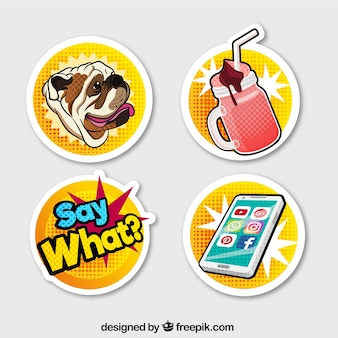 Modern stickers with pop art style