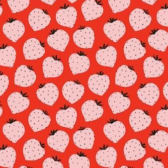 モダンなイチゴのシームレスなパターン。ピンクの大きな赤い丸いイチゴ。大きな活気のある果実。繊維、webバナー、カードのベリーパターンデザイン。新鮮な夏の果物。赤い果実と果物。