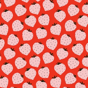 Modern strawberry seamless pattern. big red round strawberries on pink. big vibrant berries. berry pattern design for textile, web banner, cards. fresh summer fruits. red berries and fruits.