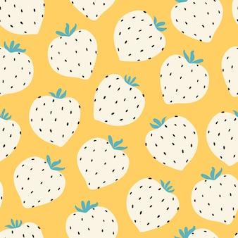 モダンなイチゴのシームレスなパターン。黄色の大きな白い丸いイチゴ。