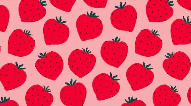 モダンなイチゴのシームレスなパターン。