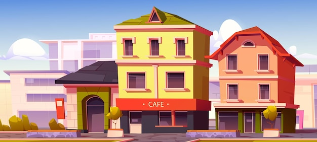 Modern street with cafe and shop buildings in european town vector cartoon illustration of city with...