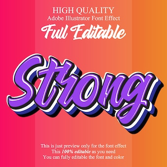 Modern strong script editable typography font effect