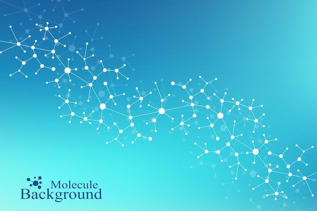 Современная структура молекулы днк. атом. молекула и коммуникационный фон для медицины, науки, техники, химии. медицинский научный фон.