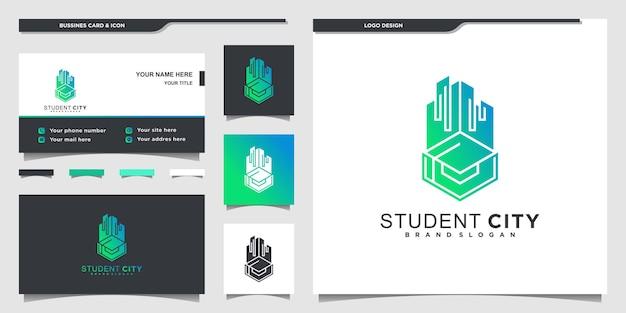 현대적인 그라디언트 색상 모양과 명함으로 현대적인 학생 도시 로고 디자인 영감 프리미엄 벡터