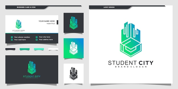 Modern student city logo design inspiration with modern gradients colour shape and business card premium vektor