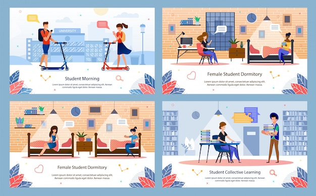 Modern student happy life flat vector banners set