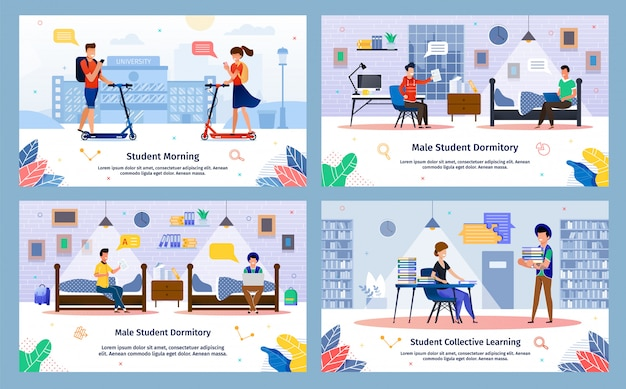 Modern student life situations vector illustrations set