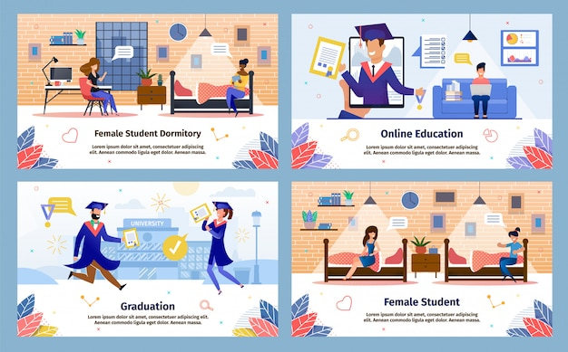 Modern students happy life flat vector banners set