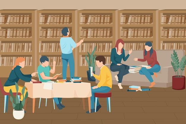 도서관 그림에서 함께 공부하는 현대 학생들