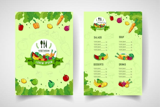 Modern style colorful fruit vegetarian restaurant menu.