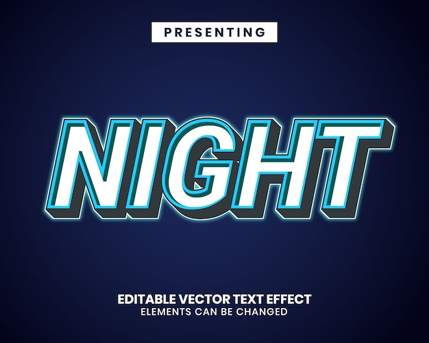 Modern style editable text effect with neon effect