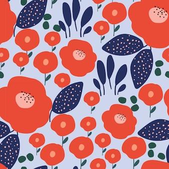 Modern style flower seamless pattern