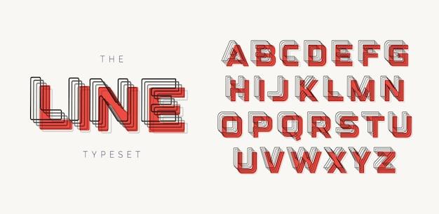 현대적인 스타일의 기하학적 글꼴입니다. 블렌드 효과와 붉은 반점/그림자가 있는 윤곽선 알파벳. 굵은 태그라인 글자.