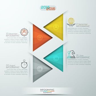 Modern style infographics options banner for 4 steps with triangles