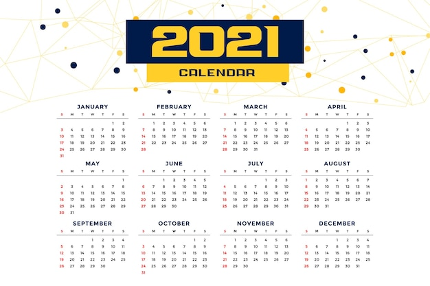 Шаблон новогоднего календаря в современном стиле