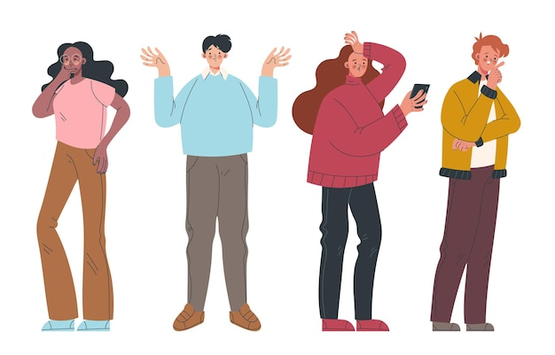 Modern style simple flat people man woman characters thinking isolated set