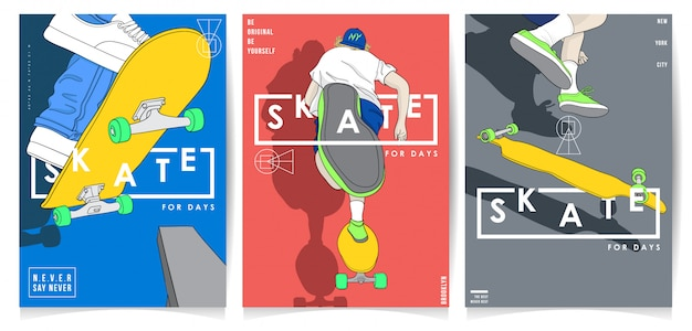 Modern style skateboarding with typography poster collection