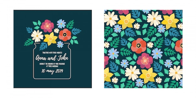 Modern style wedding invitation card with flat flower blossom and seamless pattern
