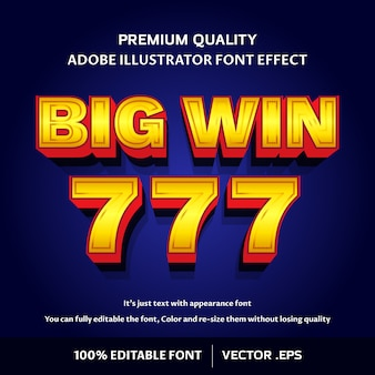 Modern and stylish 3d big win - easy editable font effect