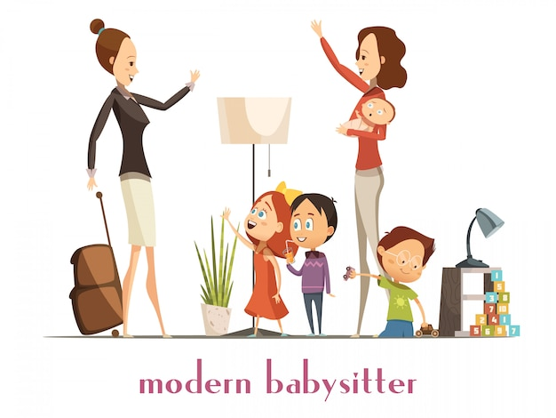 Modern stylish babysitter nanny holding baby playing with kids and waving farewell to busy mother ca