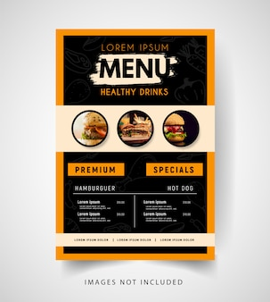 Modern stylish burger restaurant menu.