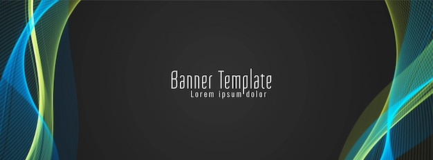 Modern stylish colorful wavy banner design