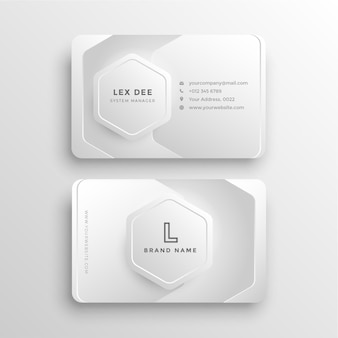 Современная стильная минималистичная визитка с белым градиентом