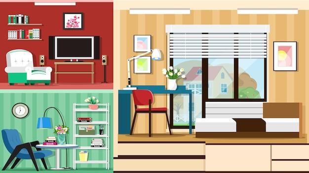 Современная стильная комнатная мебель. интерьер комнат.